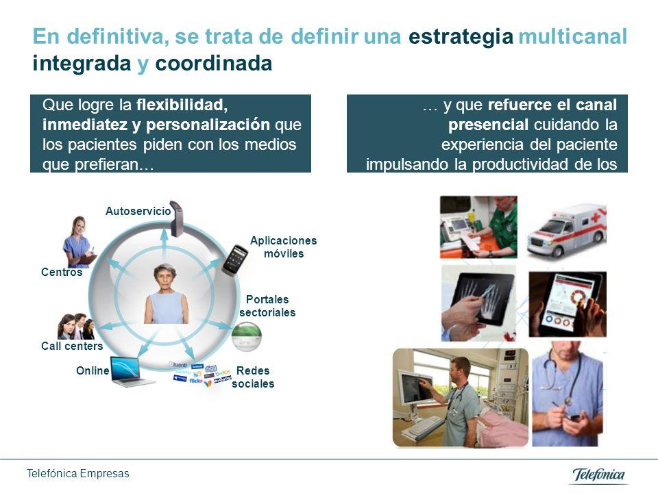 Telefónica Empresas En definitiva, se trata de definir una estrategia multicanal integrada y coordinada Call centers Aplicaciones móviles Online Porta