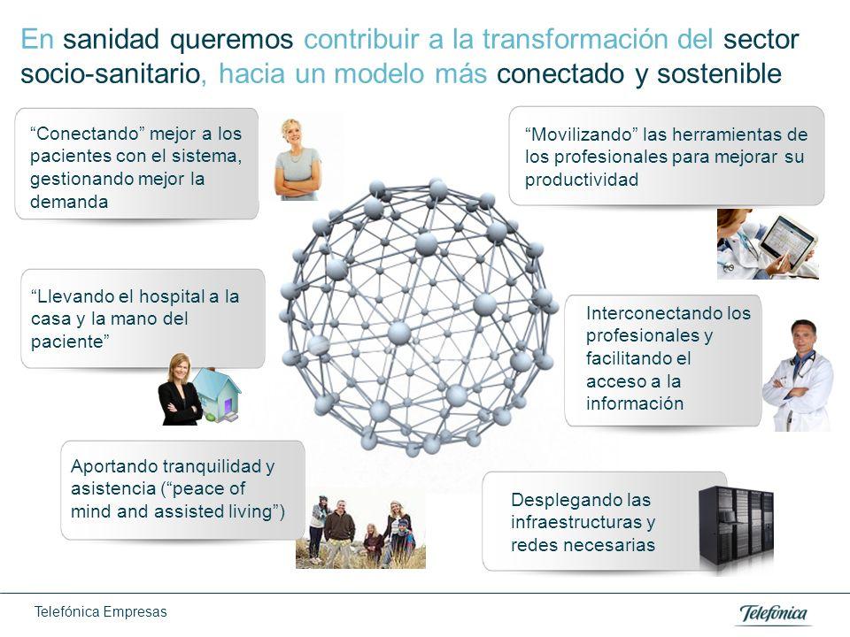 Telefónica Empresas En sanidad queremos contribuir a la transformación del sector socio-sanitario, hacia un modelo más conectado y sostenible Conectan