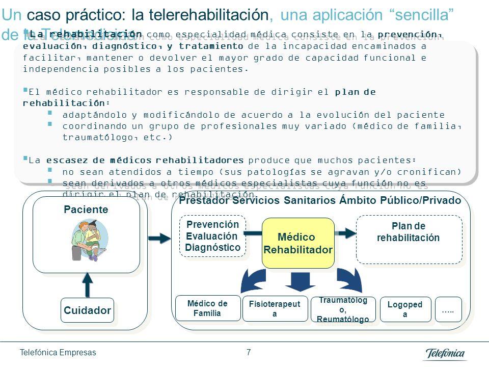 Telefónica Empresas 7 Un caso práctico: la telerehabilitación, una aplicación sencilla de la Telemedicina La rehabilitación como especialidad médica c