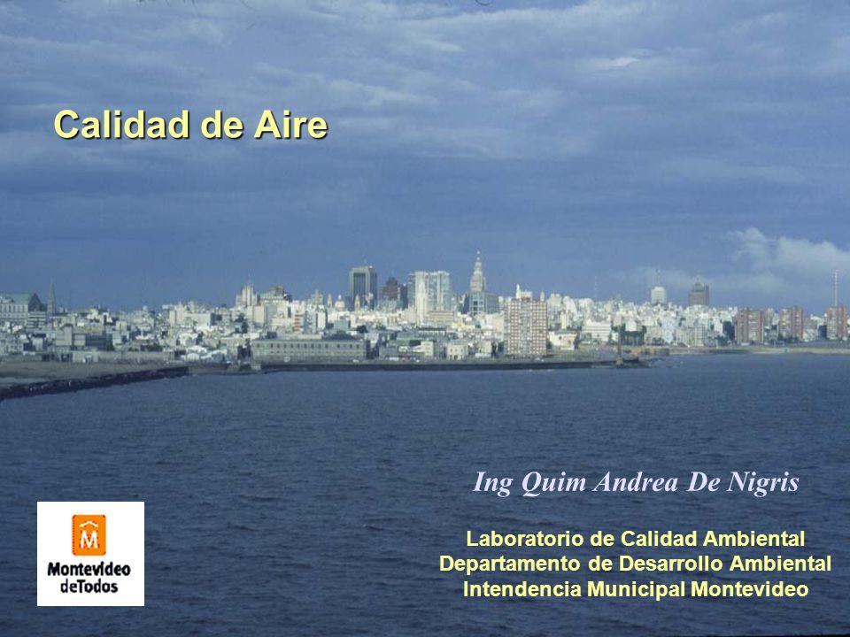 Calidad de Aire Laboratorio de Calidad Ambiental Departamento de Desarrollo Ambiental Intendencia Municipal Montevideo Ing Quim Andrea De Nigris
