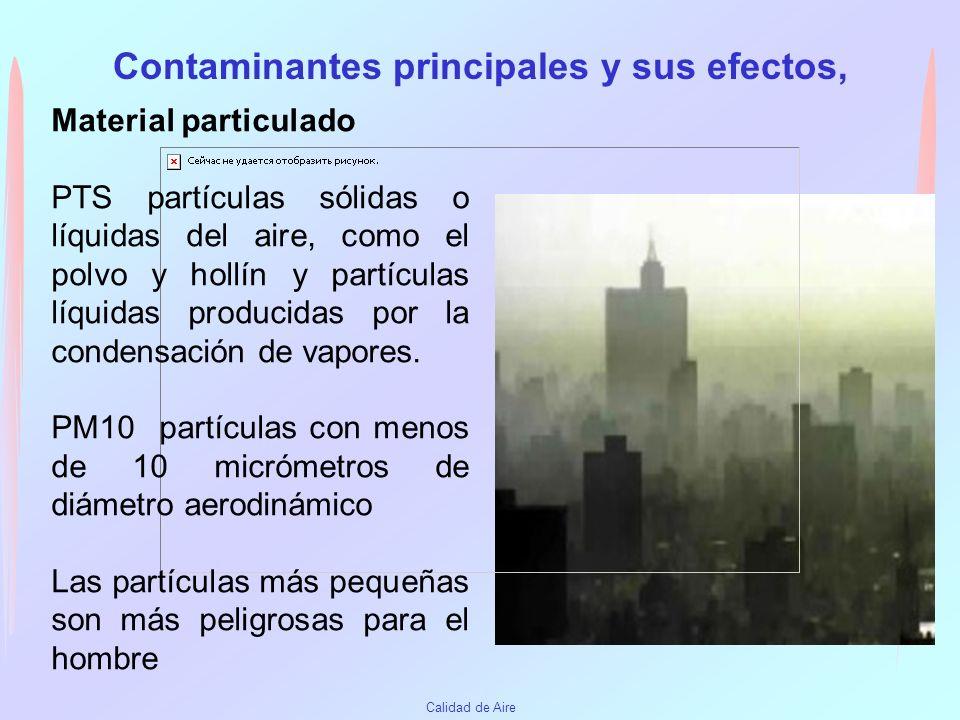 Calidad de Aire Contaminantes principales y sus efectos, Ozono (O3) Contaminante criterio secundario. Se forma mediante una serie compleja de reaccion