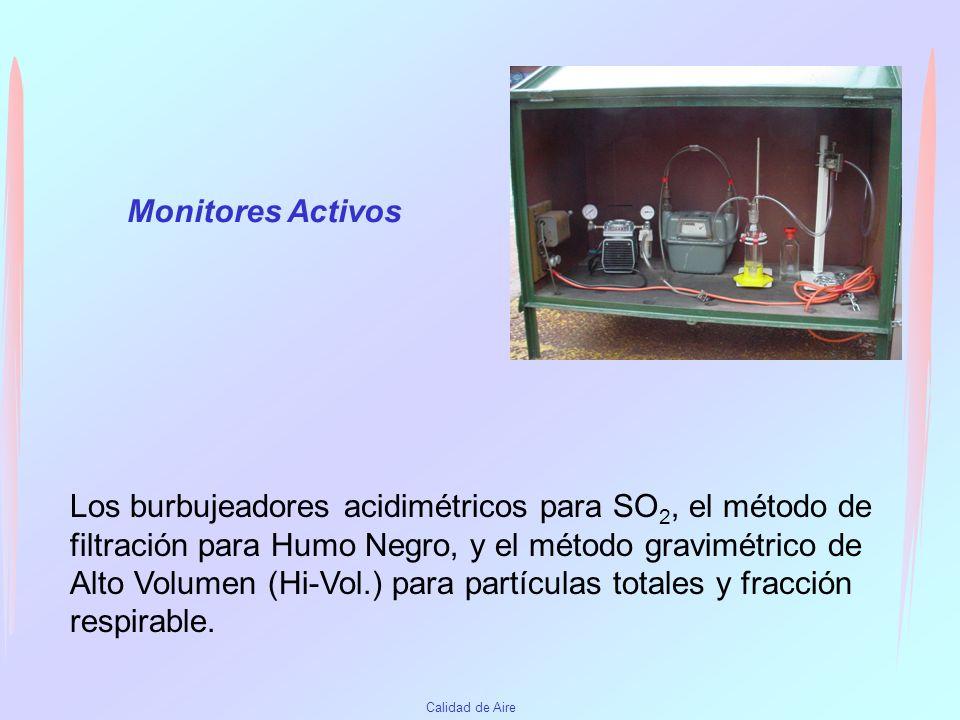 Calidad de Aire Analizadores o monitores automáticos Pueden ser activos o pasivos de acuerdo a como es impulsado el aire hacia el detector. Funcionan