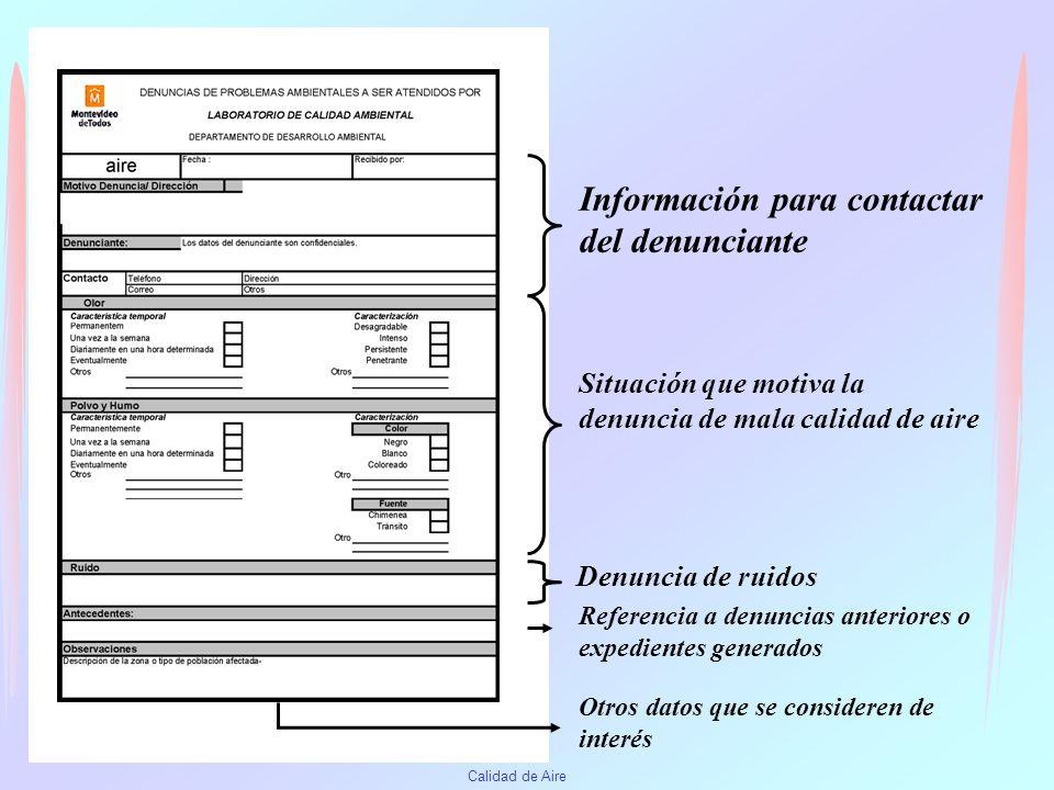 Calidad de Aire Como Denunciar Irregularidades CCZ Comisiones zonales Monitoreo ciudadano DDA - LCA Teléfono 1950 Planilla de Denuncias