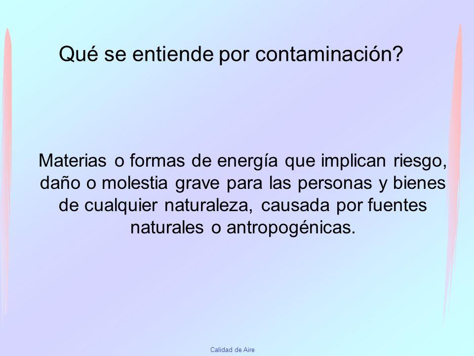 Contaminantes en interiores Agentes químicos –NOx CO SO2 - Combustión –O3 Fotocopiadoras, –COV Materiales de construcción –Hidrocarburos –Metales –Pesticidas –Material particulado