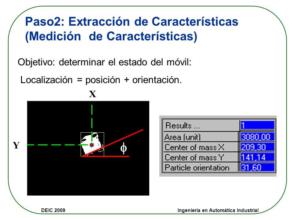 DEIC 2009 Ingeniería en Automática Industrial Paso1: Segmentación (Filtrado Partículas) Filtro de partículas: criterio área. las partículas entre 1 y