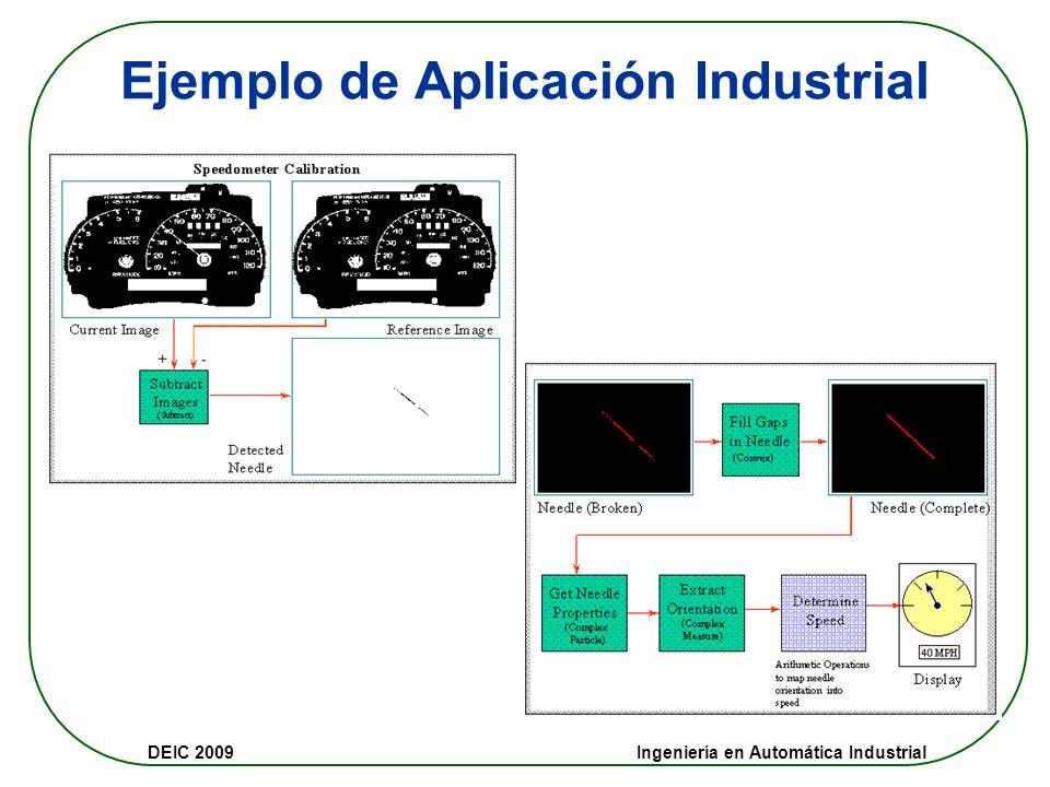 DEIC 2009 Ingeniería en Automática Industrial Procesamiento básico Funciones básicas: Histograma Threshold (imagen binaria) Imagen en escala de grises