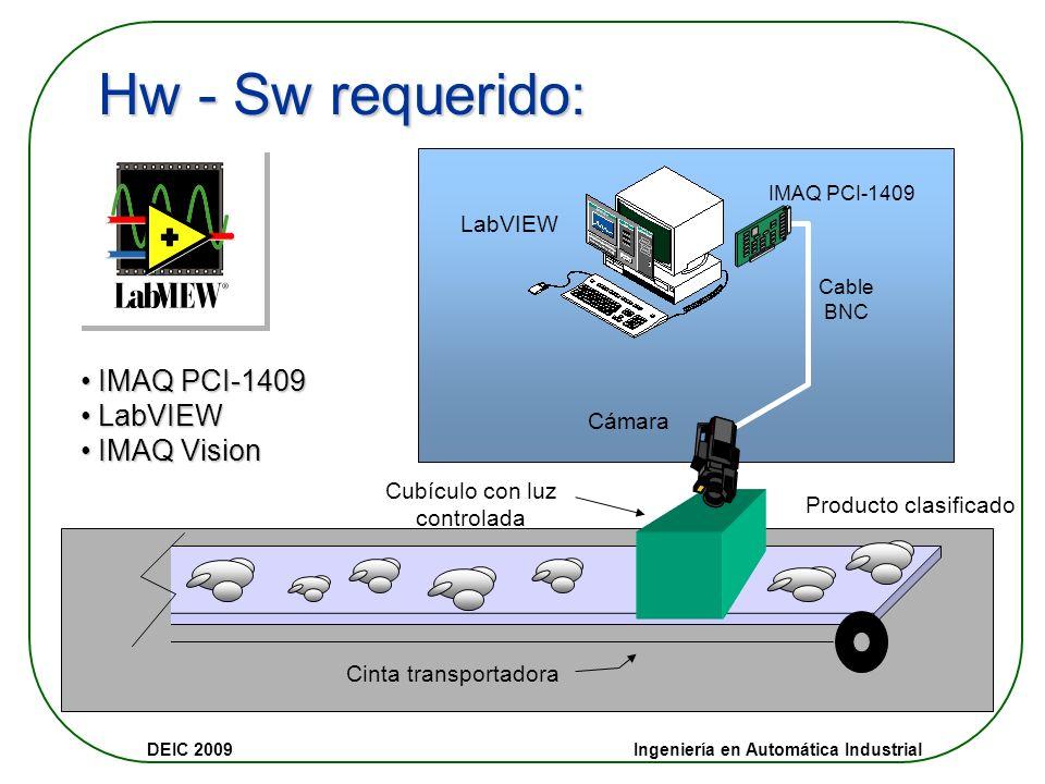 DEIC 2009 Ingeniería en Automática Industrial Ejemplo Solución a un problema de automatización en una Avícola de la región Desafío: Realizar la clasif