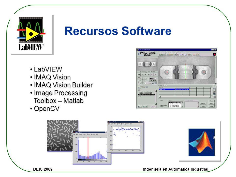 DEIC 2009 Ingeniería en Automática Industrial Recursos Hardware 1.Cámara: B/N simple analógica RS – 170 2.Cámaras Digitales 1024x720 3. Sistema de Len