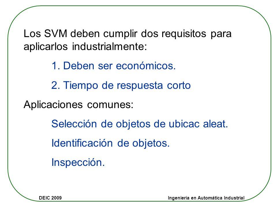DEIC 2009 Ingeniería en Automática Industrial Los SVM deben cumplir dos requisitos para aplicarlos industrialmente: 1.