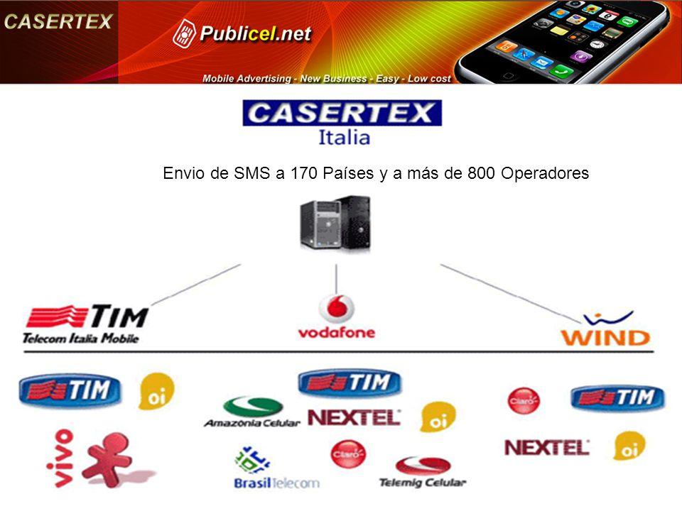 Envio de SMS a 170 Países y a más de 800 Operadores