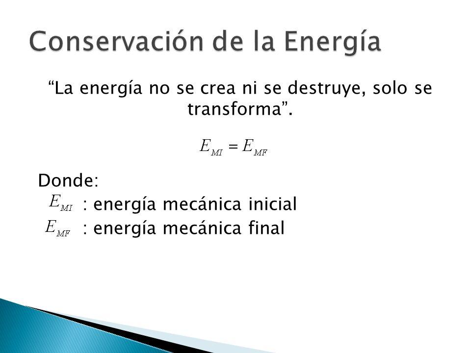 La energía no se crea ni se destruye, solo se transforma.