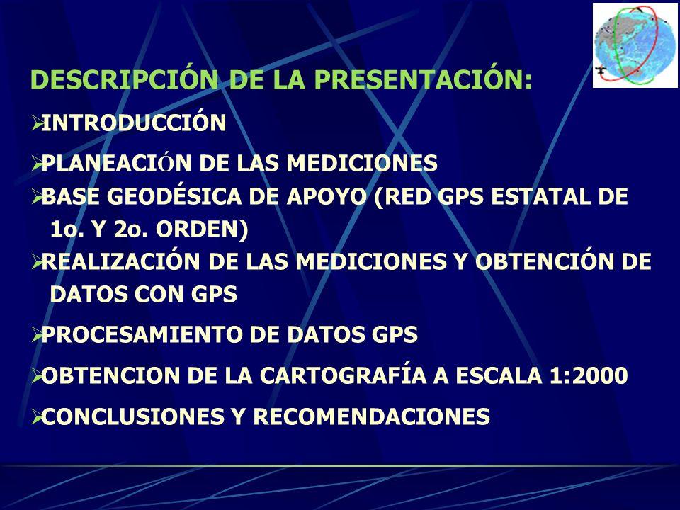 DESCRIPCIÓN DE LA PRESENTACIÓN: INTRODUCCIÓN PLANEACI Ó N DE LAS MEDICIONES BASE GEODÉSICA DE APOYO (RED GPS ESTATAL DE 1o. Y 2o. ORDEN) REALIZACIÓN D