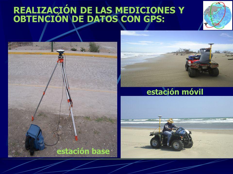 REALIZACIÓN DE LAS MEDICIONES Y OBTENCIÓN DE DATOS CON GPS: estación base estación móvil