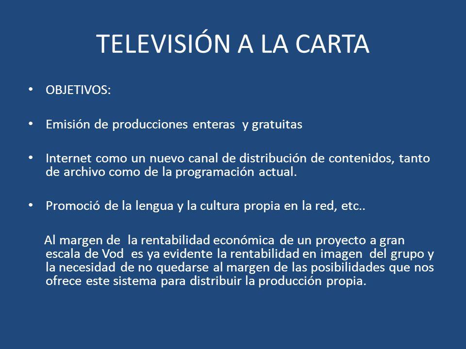 OBJETIVOS: Emisión de producciones enteras y gratuitas Internet como un nuevo canal de distribución de contenidos, tanto de archivo como de la programación actual.