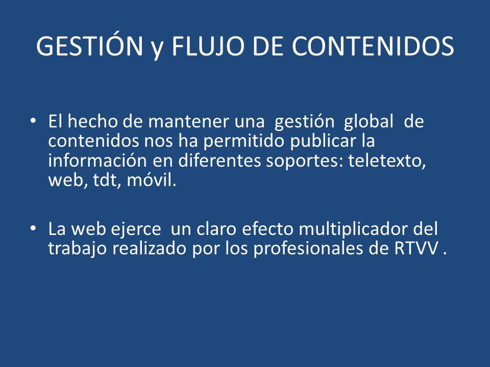 GESTIÓN y FLUJO DE CONTENIDOS El hecho de mantener una gestión global de contenidos nos ha permitido publicar la información en diferentes soportes: teletexto, web, tdt, móvil.