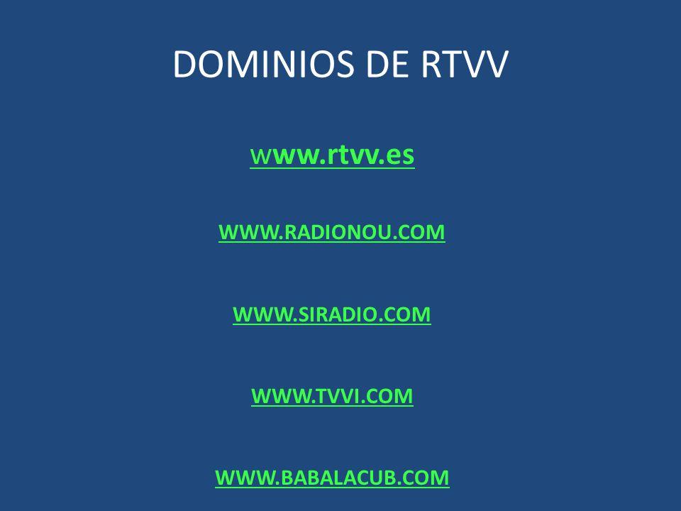 DOMINIOS DE RTVV www.rtvv.es WWW.RADIONOU.COM WWW.SIRADIO.COM WWW.TVVI.COM WWW.BABALACUB.COM