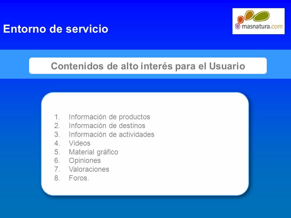 8 Contenidos de alto interés para el Usuario Entorno de servicio 1.Información de productos 2.Información de destinos 3.Información de actividades 4.V