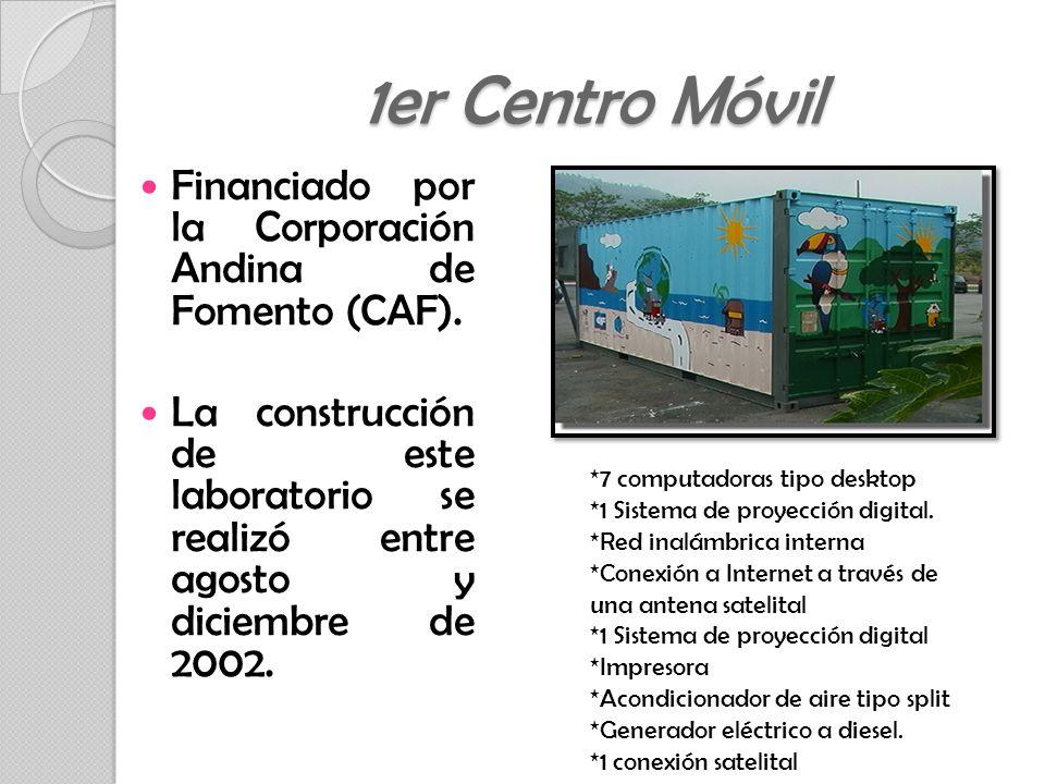 Financiado por la Corporación Andina de Fomento (CAF). La construcción de este laboratorio se realizó entre agosto y diciembre de 2002. 1er Centro Móv