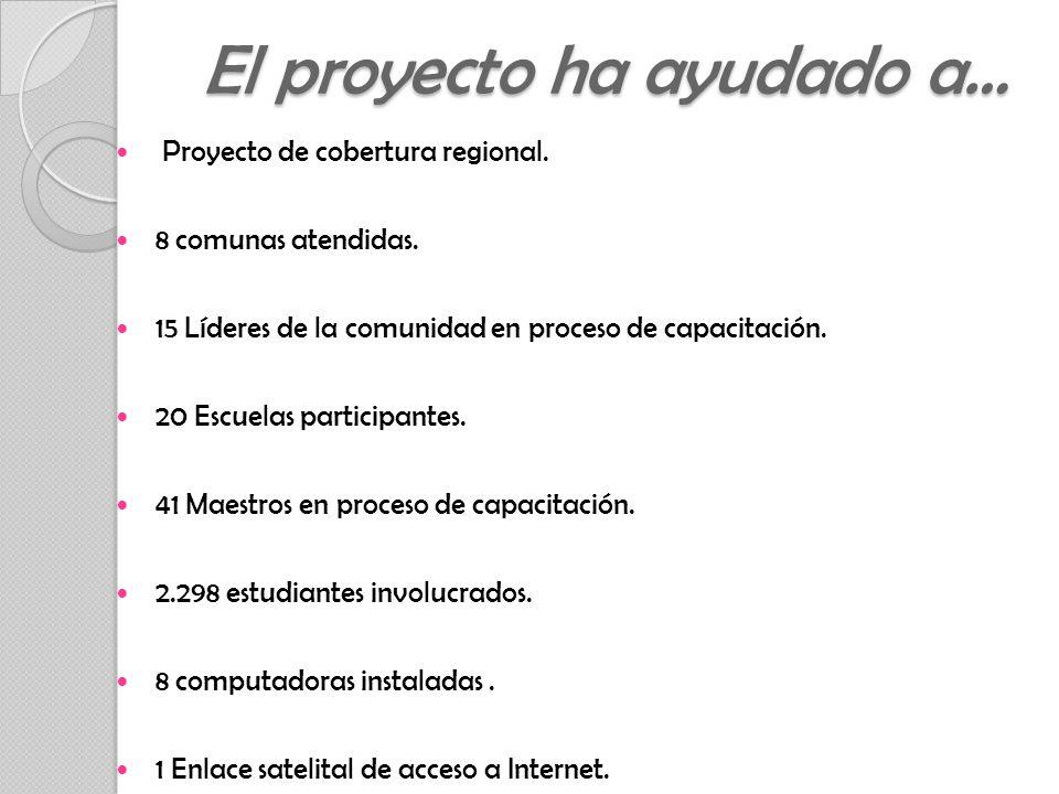 Proyecto de cobertura regional. 8 comunas atendidas.