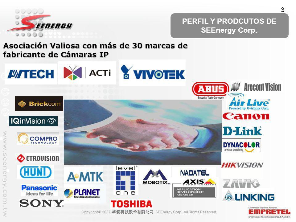 Copyright © 2007 SEEnergy Corp. All Rights Reserved. PERFIL Y PRODCUTOS DE SEEnergy Corp. Asociación Valiosa con más de 30 marcas de fabricante de Cám