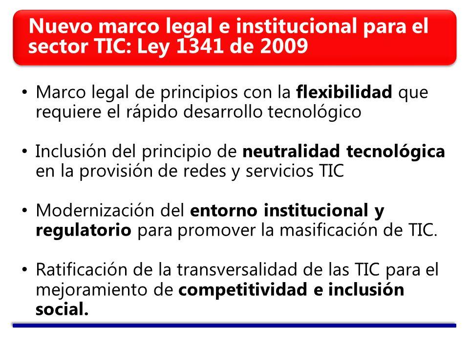 Marco legal de principios con la flexibilidad que requiere el rápido desarrollo tecnológico Inclusión del principio de neutralidad tecnológica en la provisión de redes y servicios TIC Modernización del entorno institucional y regulatorio para promover la masificación de TIC.
