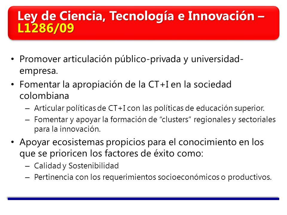 Promover articulación público-privada y universidad- empresa. Fomentar la apropiación de la CT+I en la sociedad colombiana – Articular políticas de CT
