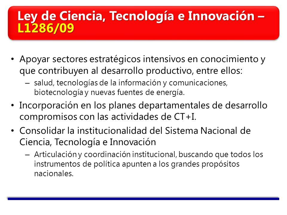 Apoyar sectores estratégicos intensivos en conocimiento y que contribuyen al desarrollo productivo, entre ellos: – salud, tecnologías de la información y comunicaciones, biotecnología y nuevas fuentes de energía.