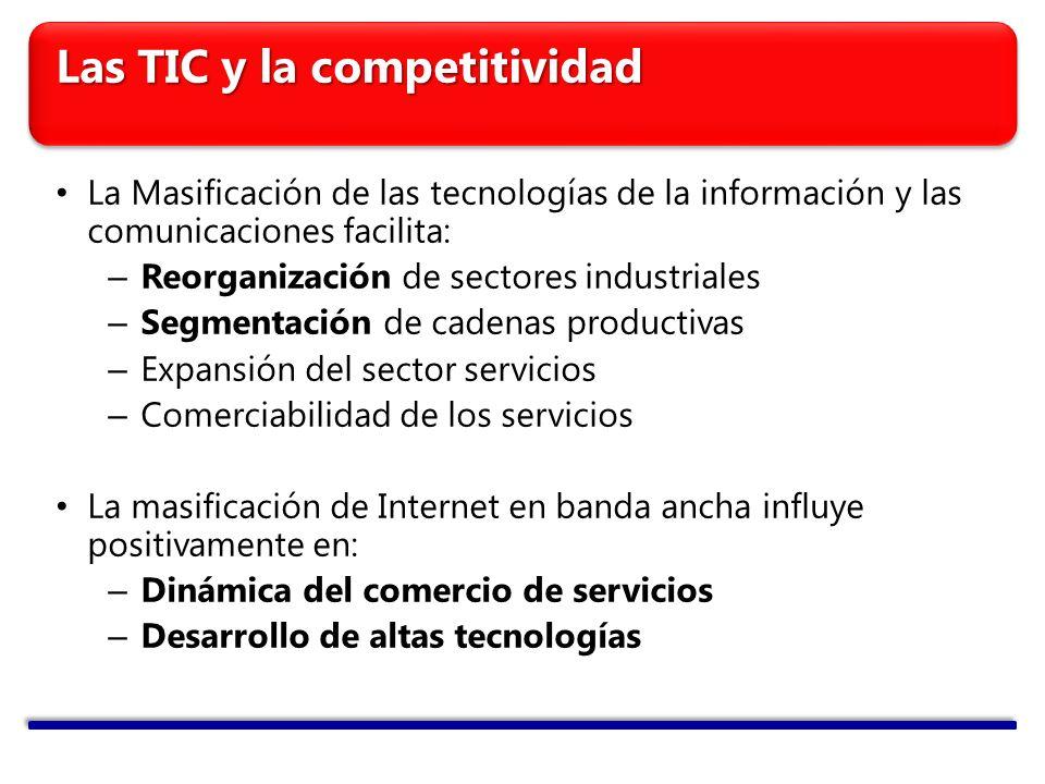 Las TIC y la competitividad La Masificación de las tecnologías de la información y las comunicaciones facilita: – Reorganización de sectores industriales – Segmentación de cadenas productivas – Expansión del sector servicios – Comerciabilidad de los servicios La masificación de Internet en banda ancha influye positivamente en: – Dinámica del comercio de servicios – Desarrollo de altas tecnologías