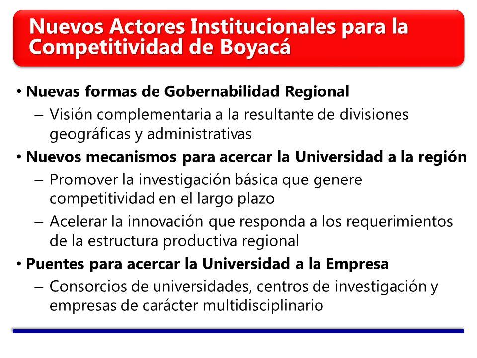 Nuevos Actores Institucionales para la Competitividad de Boyacá Nuevas formas de Gobernabilidad Regional – Visión complementaria a la resultante de di