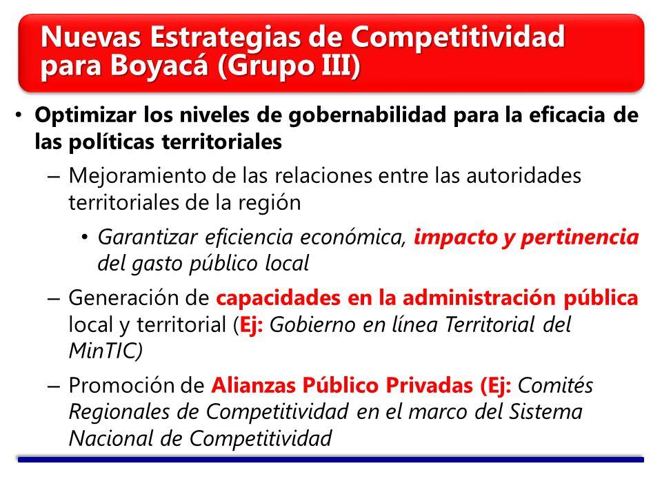 Optimizar los niveles de gobernabilidad para la eficacia de las políticas territoriales – Mejoramiento de las relaciones entre las autoridades territo