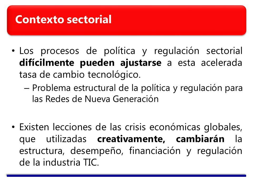 Contexto sectorial Los procesos de política y regulación sectorial difícilmente pueden ajustarse a esta acelerada tasa de cambio tecnológico.