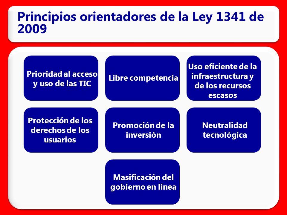 Principios orientadores de la Ley 1341 de 2009 Prioridad al acceso y uso de las TIC Libre competencia Uso eficiente de la infraestructura y de los recursos escasos Protección de los derechos de los usuarios Promoción de la inversión Neutralidad tecnológica Masificación del gobierno en línea