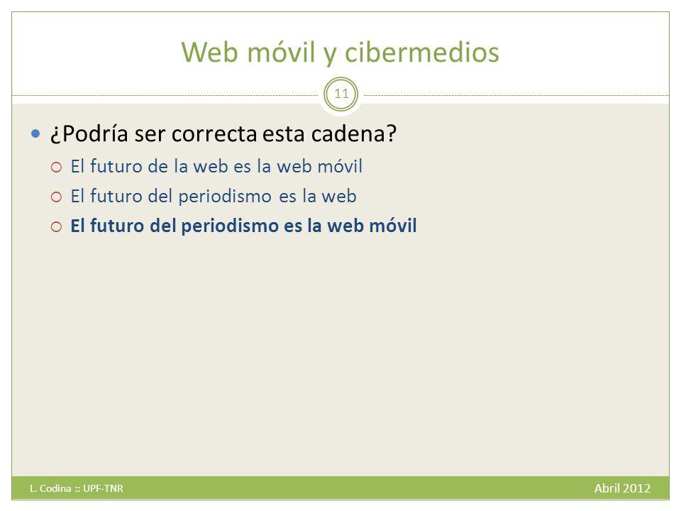 Web móvil y cibermedios Abril 2012 L.Codina :: UPF-TNR 11 ¿Podría ser correcta esta cadena.
