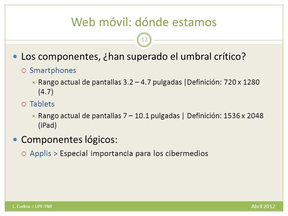 Web móvil: dónde estamos Abril 2012 L.