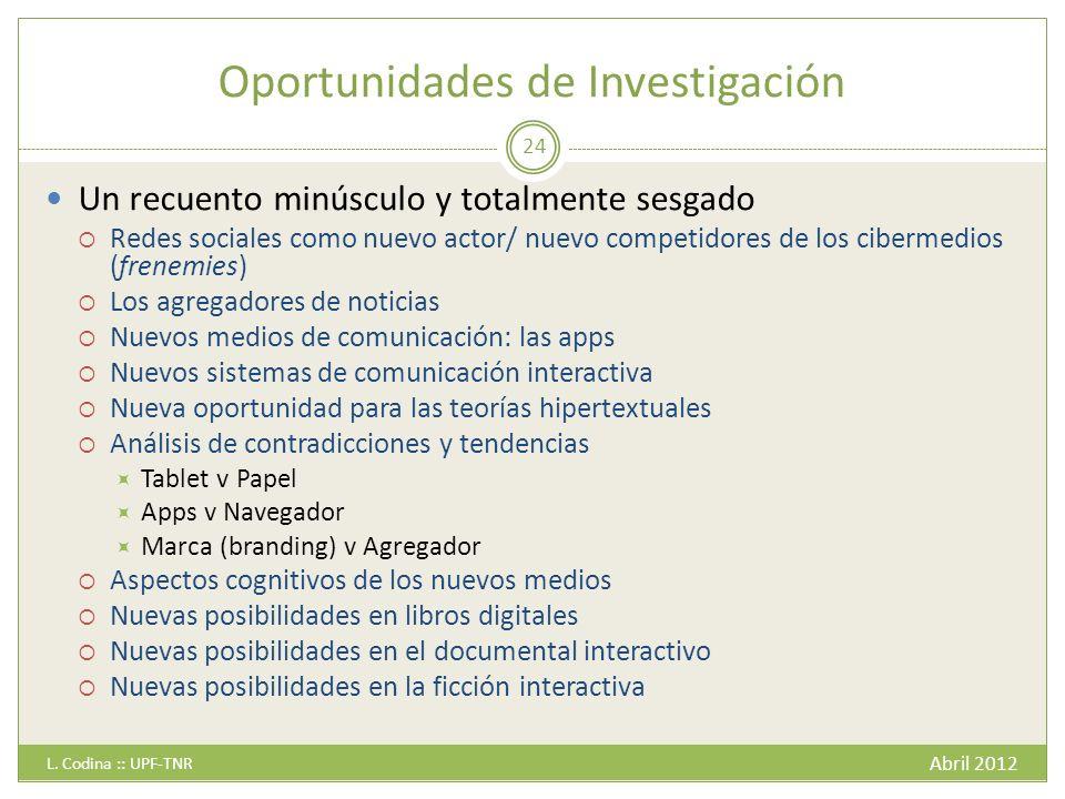 Oportunidades de Investigación Abril 2012 L.