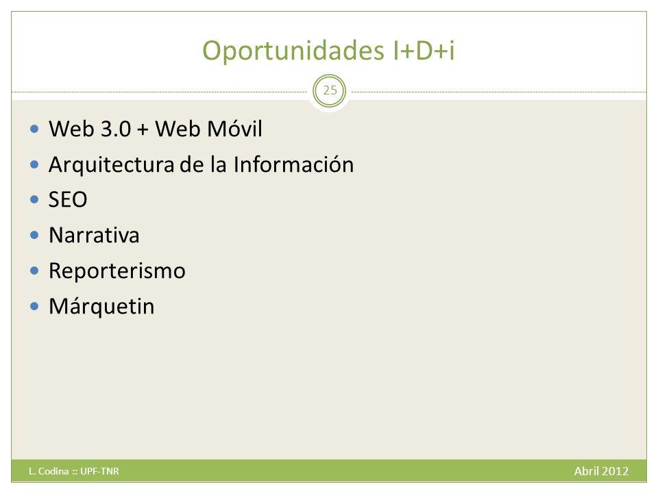 Oportunidades I+D+i Abril 2012 L.