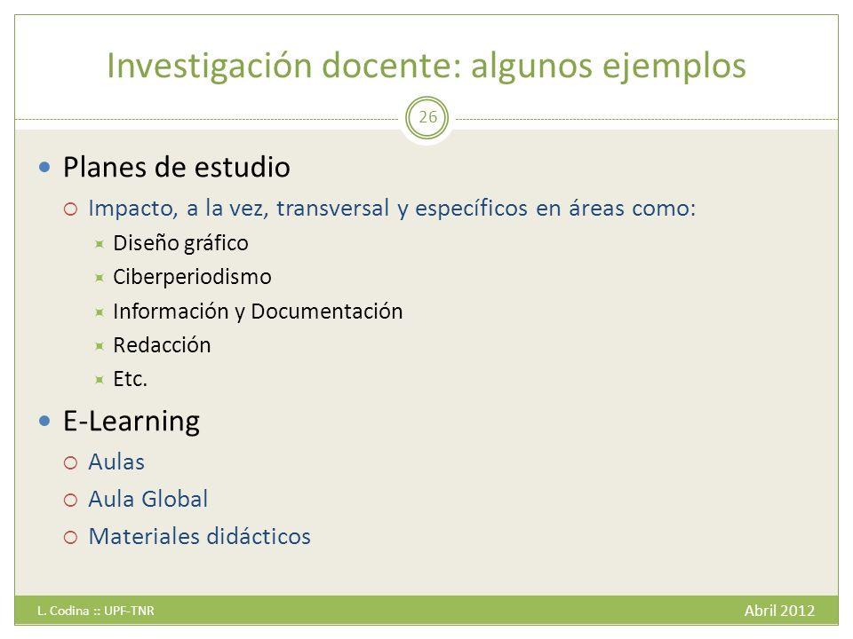Investigación docente: algunos ejemplos Abril 2012 L.