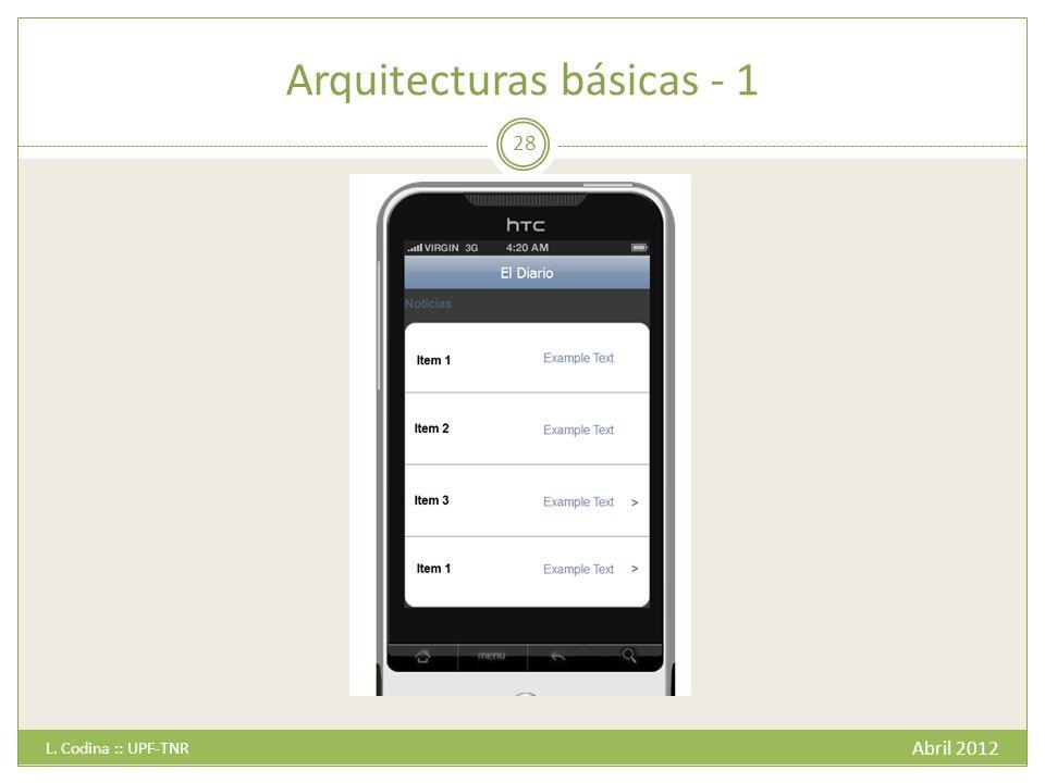 Arquitecturas básicas - 1 Abril 2012 L. Codina :: UPF-TNR 28