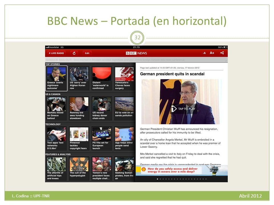 BBC News – Portada (en horizontal) Abril 2012 L. Codina :: UPF-TNR 32