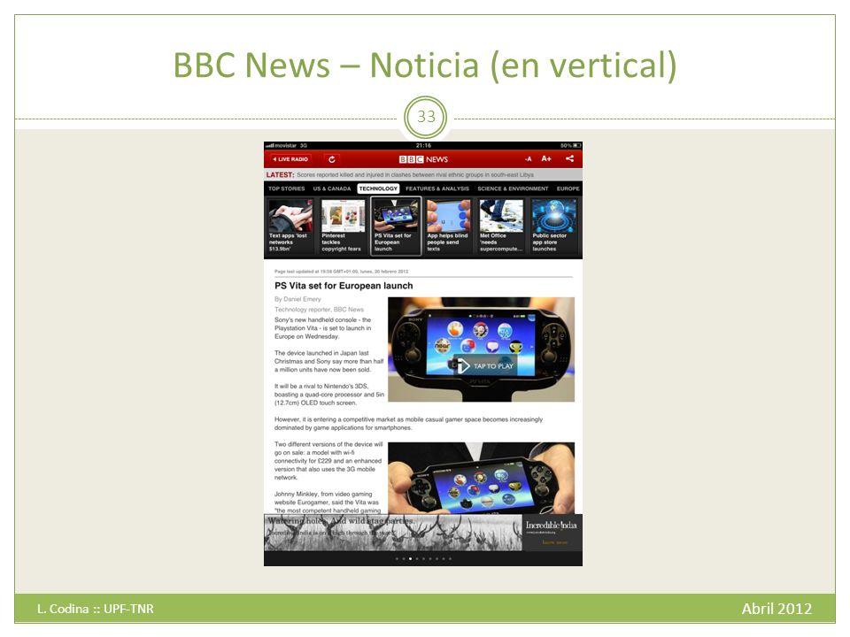 BBC News – Noticia (en vertical) Abril 2012 L. Codina :: UPF-TNR 33