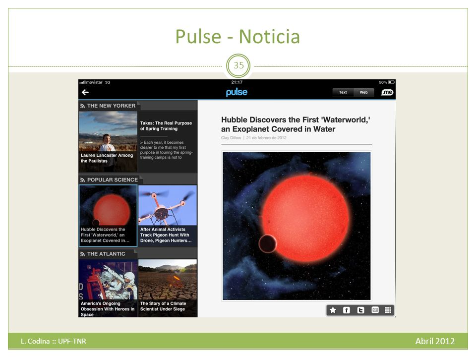 Pulse - Noticia Abril 2012 L. Codina :: UPF-TNR 35