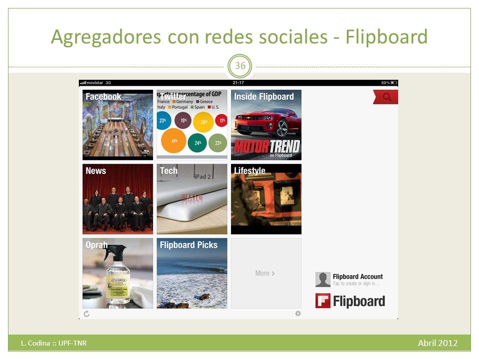 Agregadores con redes sociales - Flipboard Abril 2012 L. Codina :: UPF-TNR 36