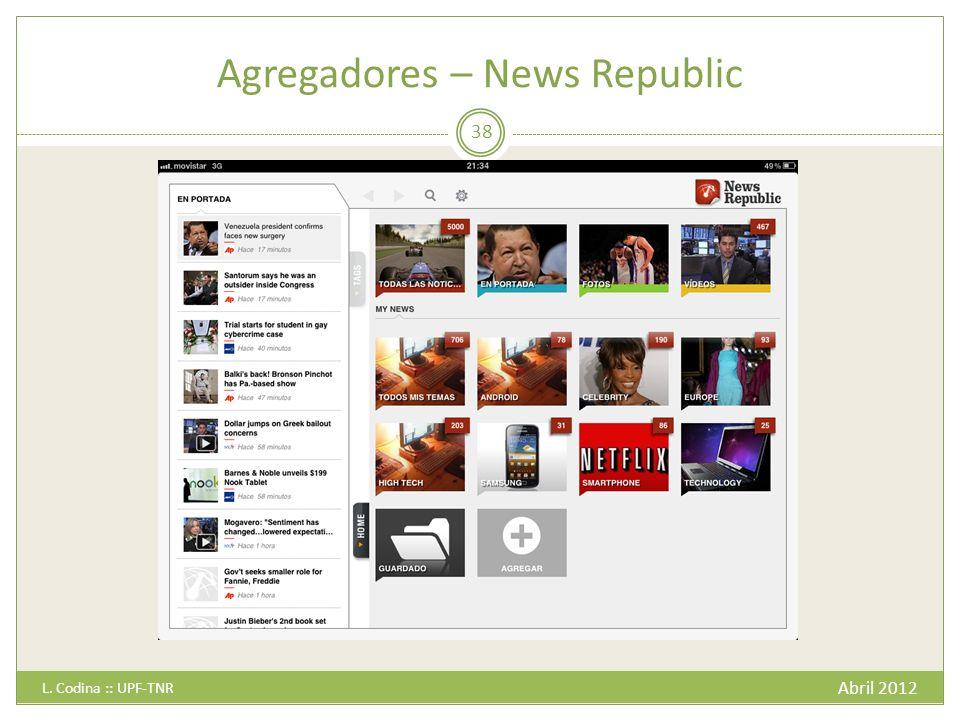 Agregadores – News Republic Abril 2012 L. Codina :: UPF-TNR 38