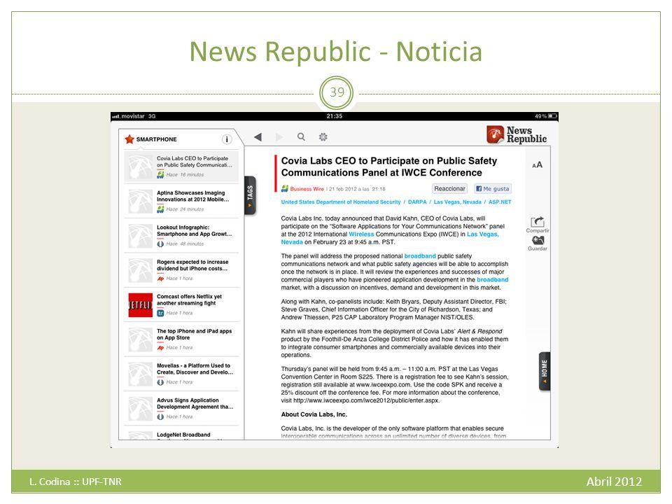 News Republic - Noticia Abril 2012 L. Codina :: UPF-TNR 39