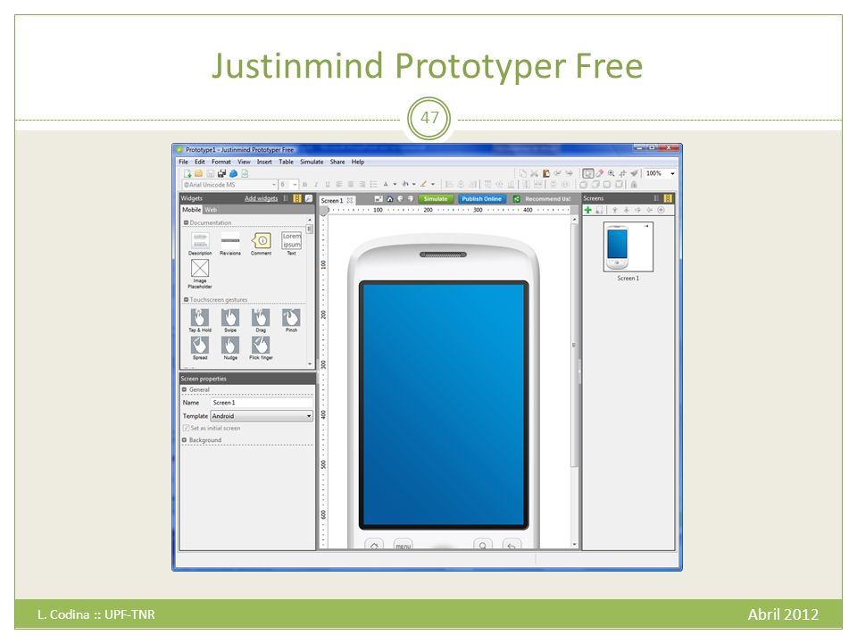 Justinmind Prototyper Free Abril 2012 L. Codina :: UPF-TNR 47