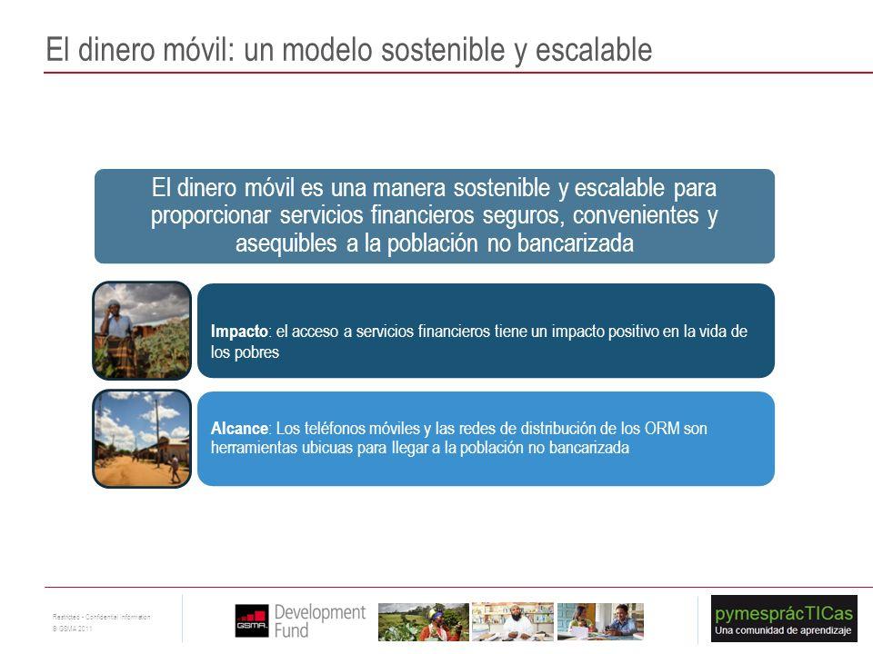 10 Restricted - Confidential Information © GSMA 2011 El dinero móvil es una manera sostenible y escalable para proporcionar servicios financieros segu