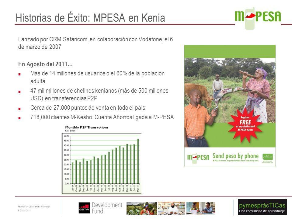 14 Restricted - Confidential Information © GSMA 2011 Historias de Éxito: MPESA en Kenia Lanzado por ORM Safaricom, en colaboración con Vodafone, el 6