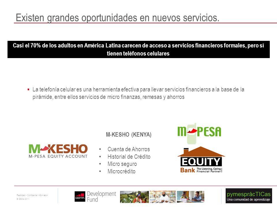 16 Restricted - Confidential Information © GSMA 2011 Existen grandes oportunidades en nuevos servicios. Casi el 70% de los adultos en América Latina c