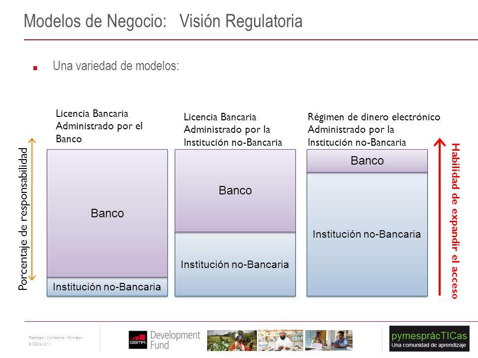 18 Restricted - Confidential Information © GSMA 2011 Modelos de Negocio: Visión Regulatoria Una variedad de modelos: Institución no-Bancaria Banco Lic