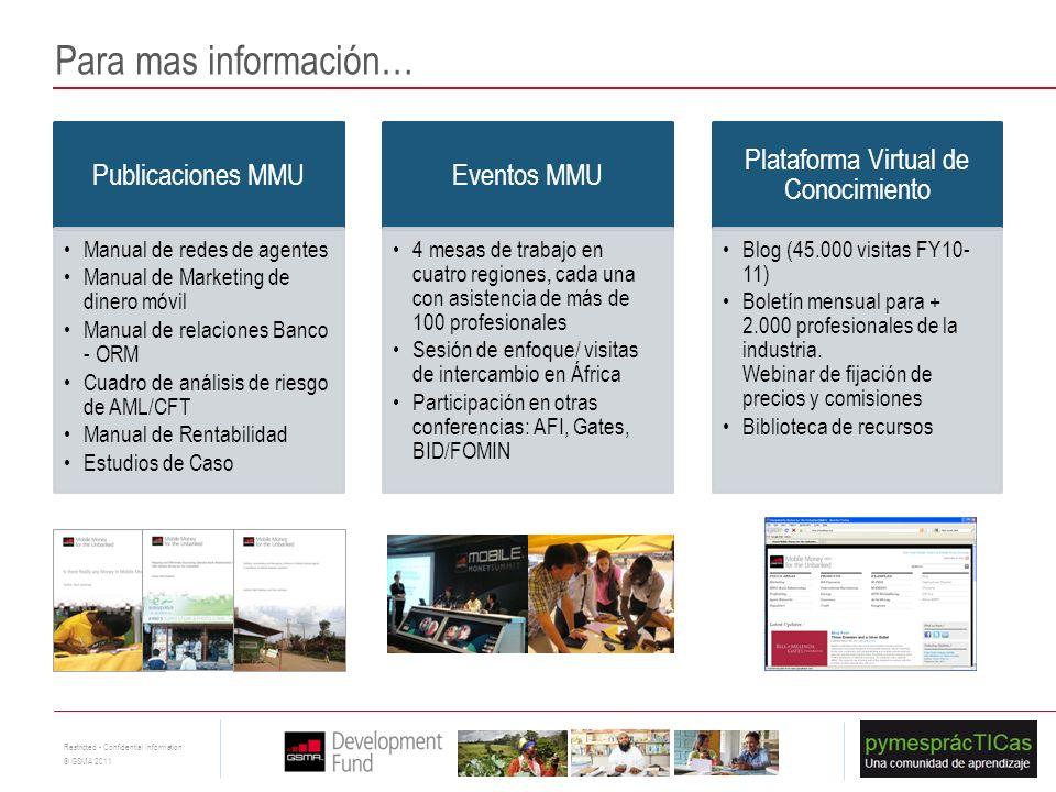 21 Restricted - Confidential Information © GSMA 2011 Publicaciones MMU Manual de redes de agentes Manual de Marketing de dinero móvil Manual de relaci